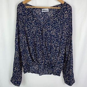 NWT Urban Outfitters Dark Blue Floral Blouse